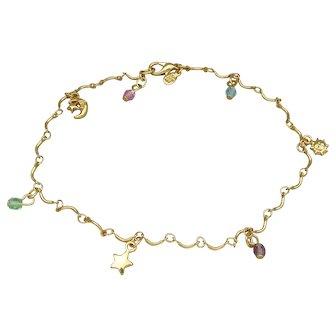 Joan Rivers Vintage Moon Stars Charm Anklet, Celestial Ankle Bracelet