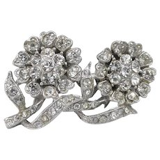 Vintage Coro A. Katz Floral Duette Diamante Rhinestone Pansy Dress Clips Pin
