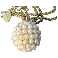 Joan Rivers Vintage Faux PEARL Ball Pendant Long Necklace
