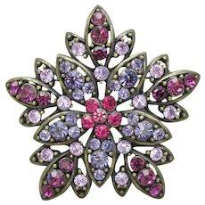 Unsigned WEISS Large Vintage Purple Rhinestone Flower Pin