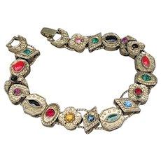 Signed Yechang Vintage Enamel & Rhinestone Slide Charm Bracelet