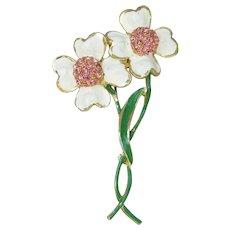 Signed WEISS 1960's Vintage MOD Enamel & Rhinestone FLOWER Pin