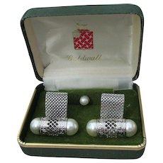 Large 1960's Vintage GOLDWALL Faux Pearl CuffLinks & Tie Tack, MIB