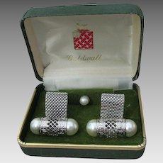 Mint In Box! BIG 1960's Vintage GOLDWALL Faux Pearl CuffLinks & Tie Tack