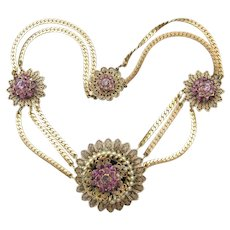 Vintage Czech 1930's Purple Rhinestone & Faux Pearl Filigree Medallion Multi Chain Necklace