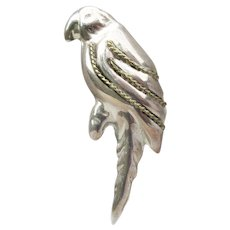Taxco Mexico Vintage Sterling Parrot Bird Pin