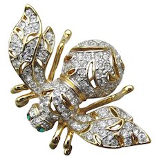 """RARE Joan Rivers Vintage """"Clearly Dazzling"""" Limited Edition Rhinestone BEE Pin"""