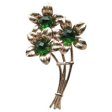 Vintage Rose Gold on Sterling Silver Emerald Green Rhinestone 1940's Retro Flower Bouquet Pin