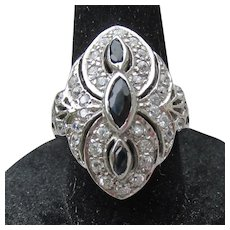 1970's Art Deco Revival Vintage Sterling Silver & Black Enamel Ring, Size 6