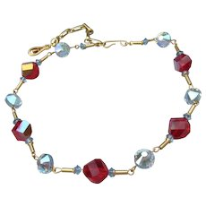 Unusual Vintage Blue & Siam Red AB Swarovski Crystal Bead Mid-Century Modern Necklace