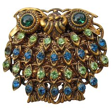 Cute FAT 1950's Vintage West Germany Rhinestone OWL Pin or Pendant