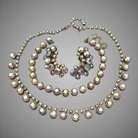 Rare Weiss Vintage Parure, AB Rhinestone Necklace, Bracelet, Earrings Set