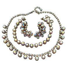 Rare Weiss Vintage Aurora Borealis Rhinestone Necklace, Bracelet, Earrings Set