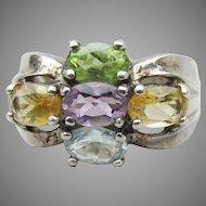 Pastel Rainbow Gemstone Sterling Silver Vintage Ring, Size 7