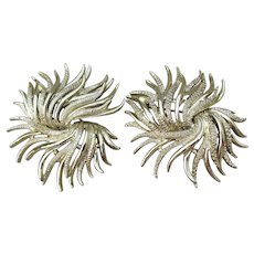 Pair Boucher MARBOUX Signed Large Vintage Mid-Century Modern Seaweed Pins