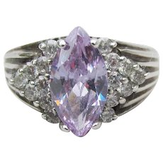Sterling Silver Vintage Crystal & Marquise Lavender Ice CZ Ring, Size 7