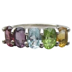 Sterling Silver Vintage Multi Gemstone Rainbow Band Ring, Size 6