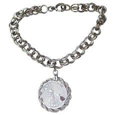 "Vintage 1960's Sterling Silver 8"" Double Link Starter Charm Bracelet, Hawaii Charm"