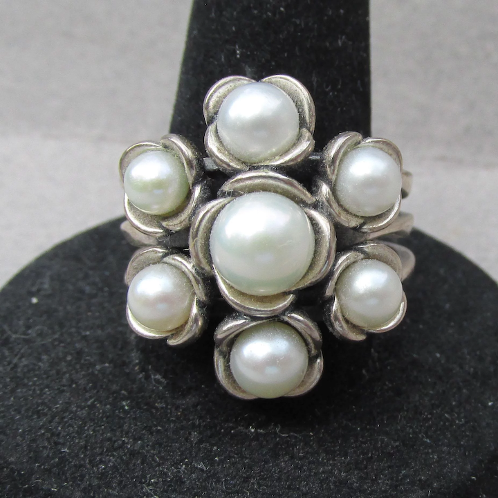 a96f21a7c Signed Pandora Vintage Sterling Silver Cultured PEARL Flower Cluster Ring,  Size 8.5
