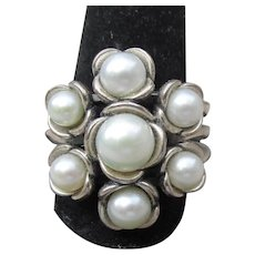 Signed Pandora Vintage Sterling Silver Cultured PEARL Flower Cluster Ring, Size 8.5