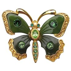 Joan Rivers Vintage Far East Collection Faux Jade & Rhinestone Butterfly Pin