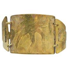 Vintage Wide Indie Leaf Stamped Brass 3 Part Cuff Bracelet