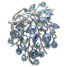 Signed CORO Pegasus LEAF Pin, 1950's Vintage Dangle Blue AB Crystal Beads & Rhinestones