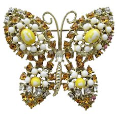 Signed WEISS Yellow Milk Glass Vintage Rhinestone BUTTERFLY Pin
