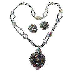 Unusual PINE CONE Swarovski Crystal Pendant Vintage Necklace & Earrings Set