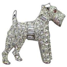Vintage TERRIER Dog Rhodium Plated Silver Tone Pave' Rhinestone Pin