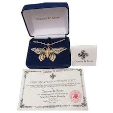 Camrose & Kross Jackie Kennedy Vintage Replica Enamel Rhinestone BUTTERFLY Necklace, Brooch, Mint In Box!
