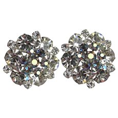 WEISS Unsigned Large Brilliant Vintage Rhinestone Earrings
