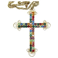 Bright Vintage Multi-Color Rhinestone BIG Cross Pendant Necklace