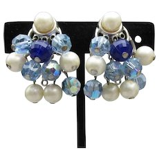 Signed TRIFARI Vintage Dangle Blue Crystal & Faux Pearl Bead Earrings