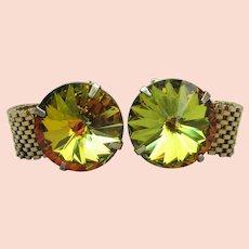 Amazing 1960's Vintage Amber AB Rivoli Rhinestone Gold Mesh Wrap CuffLinks