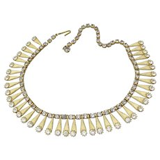 Egyptian Revival 1960's Vintage Rhinestone Bib Collar Necklace