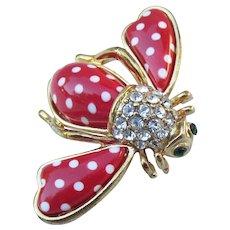 Joan Rivers Vintage Red & White Polka Dot Bee Pin