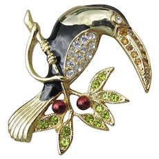 Signed MONET Vintage Enamel & Rhinestone Toucan Bird Pin