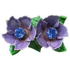 1960's MOD Vintage Purple & Green Enamel + Blue Rhinestone Double Flower Pin