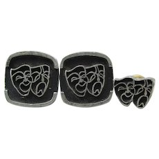 Vintage Black Enamel Comedy Tragedy Theater Mask Cufflinks Tie Tack Set