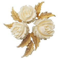 Designer Signed Ledo POLCINI Celluloid Ivory ROSE Bouquet Vintage Pin