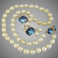 RARE Judith McCann Vintage WingBack Faux Pearl & Blue Rhinestone Necklace & Earrings Set