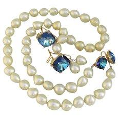RARE Judith McCann Vintage WingBack Faux Pearl & Blue Rhinestone Necklace & Earrings Set