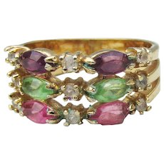 Joan Rivers Vintage 3 Row Multi Color Rhinestone Faux Stacking Ring, Size 7