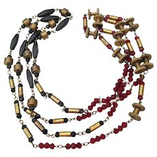 1920's Art Deco Vintage Glass Bead & Brass Nuts Bolts Machine Age Long Flapper Necklace