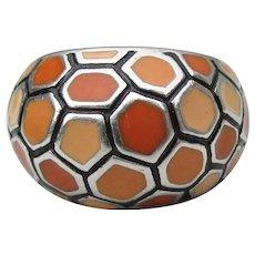 Orange Sherbet Honeycomb Enamel Vintage Sterling Silver Dome Ring, Size 7