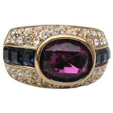 Gorgeous Nolan MILLER Signed Amethyst & Sapphire Rhinestone Band Ring, Size 8