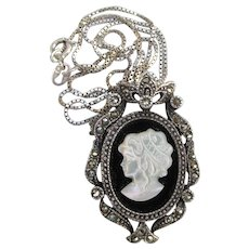Vintage Sterling Silver & Marcasite Carved Shell Mother-of-Pearl, Black Onyx CAMEO Necklace or Pin