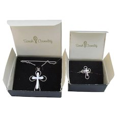 NEW In Box! Sarah Coventry Vintage Serenity Cross Necklace & Ring Set