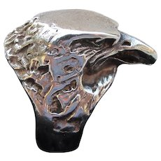 Large Unisex Sterling Silver Vintage EAGLE Head Ring, Size 7.5